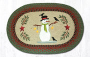 "Capitol Earth Rugs Snowman with Crow Oval Patch Rug, 20"" x 30"""