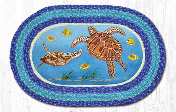 "Capitol Earth Rugs Sea Turtle Oval Patch Rug, 20"" x 30"""