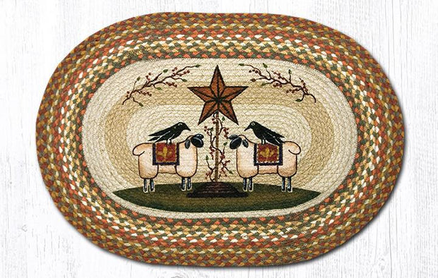 "Capitol Earth Rugs Sheep & Barn Star Oval Patch Rug, 20"" x 30"""