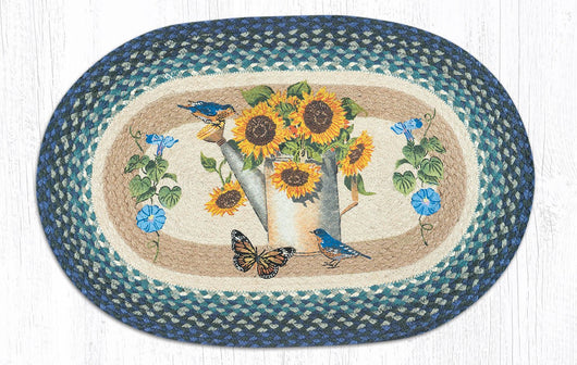 Capitol Earth Rugs Sunflower Water Can Oval Patch Rug, 20