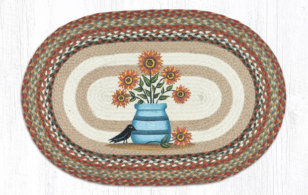"Capitol Earth Rugs Sunflower in Crock Oval Patch Rug, 20"" x 30"""