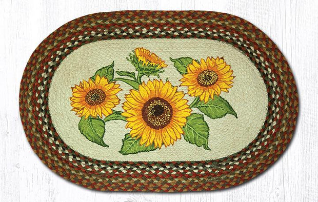 "Capitol Earth Rugs Sunflowers Oval Patch Rug, 20"" x 30"""