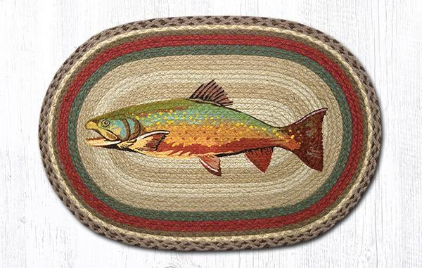"Capitol Earth Rugs Trout Oval Patch Rug, 20"" x 30"""