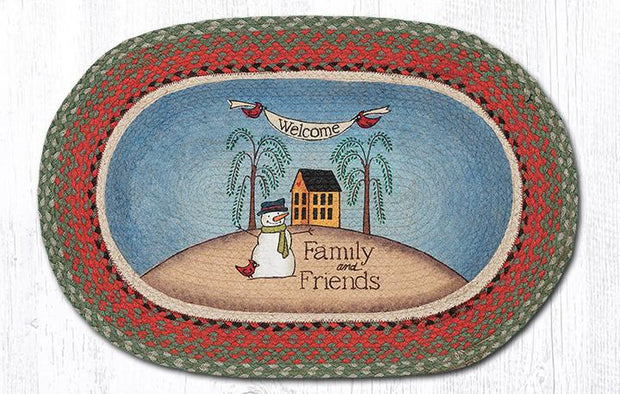 "Capitol Earth Rugs Snowman Welcome Family & Friends Oval Patch Rug, 20"" x 30"""