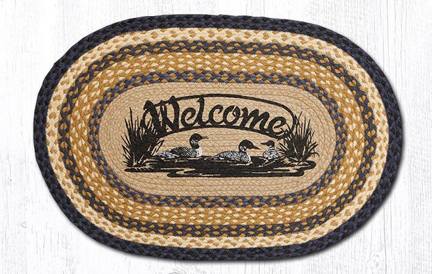 "Capitol Earth Rugs Welcome Loons Oval Patch Rug, 20"" x 30"""