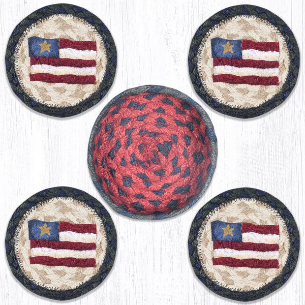 "Capitol Earth Rugs Printed Braided Jute Coaster Sets, 4"", Primitive Star Flag"