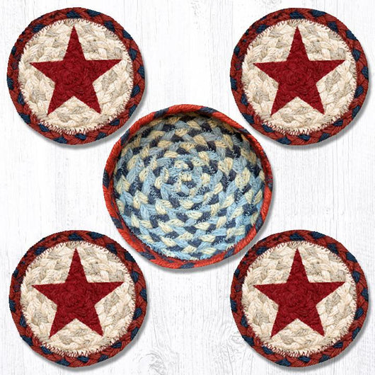 Capitol Earth Rugs Printed Braided Jute Coaster Sets, 4
