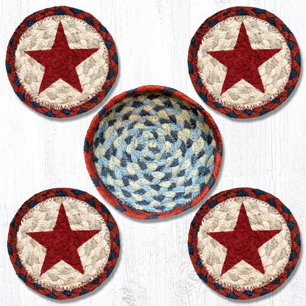 "Capitol Earth Rugs Printed Braided Jute Coaster Sets, 4"", Red Star"
