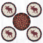 "Capitol Earth Rugs Printed Braided Jute Coaster Sets, 4"", Moose"