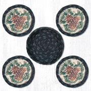 "Capitol Earth Rugs 4"" Braided Jute Coaster Set, Pinecone"