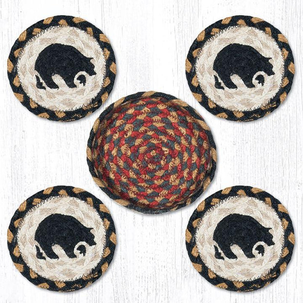 "Capitol Earth Rugs Printed Braided Jute Coaster Sets, 4"", Black Bear"