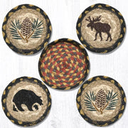 "Capitol Earth Rugs Printed Braided Jute Coaster Sets, 4"", Wilderness"