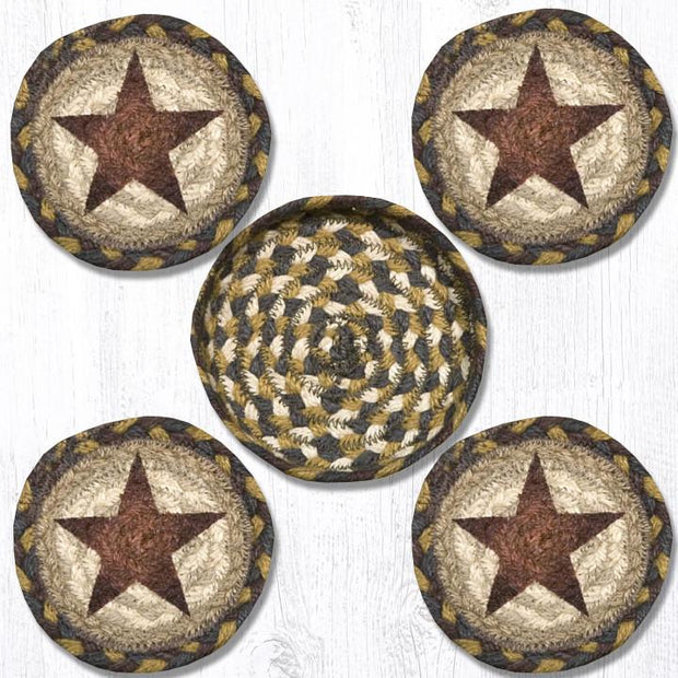 "Capitol Earth Rugs Printed Braided Jute Coaster Sets, 4"", Gold Star"