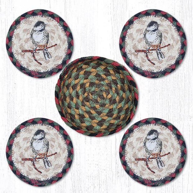 "Capitol Earth Rugs Printed Braided Jute Coaster Sets, 4"", Chickadee"