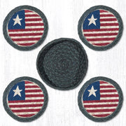 "Capitol Earth Rugs Printed Braided Jute Coaster Sets, 4"", Original Flag"