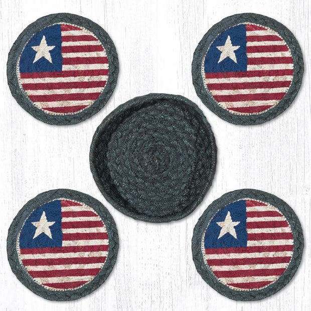 "Capitol Earth Rugs 4"" Braided Jute Coaster Set, Original Flag"