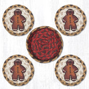 "Capitol Earth Rugs 4"" Braided Jute Coaster Set, Gingerbread Man"