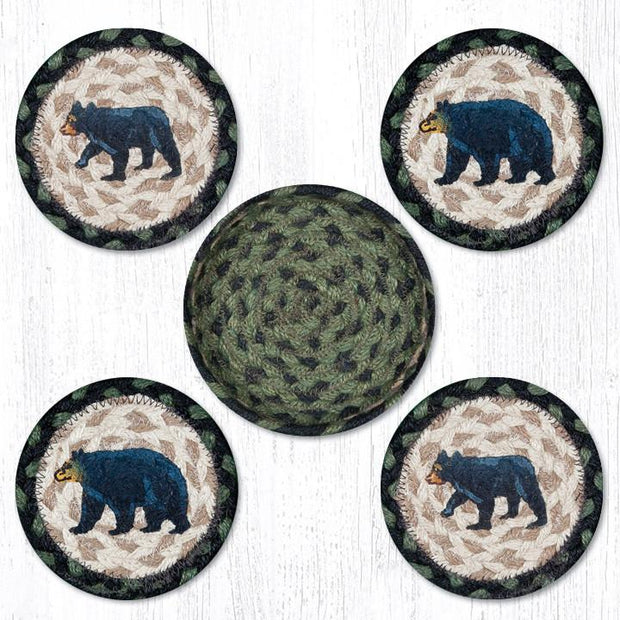 "Capitol Earth Rugs Printed Braided Jute Coaster Sets, 4"", Mama & Baby Bear"