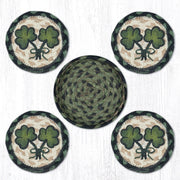 "Capitol Earth Rugs 4"" Braided Jute Coaster Set, Shamrock"