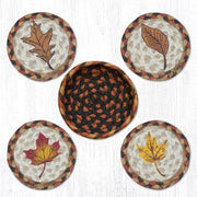 "Capitol Earth Rugs 4"" Braided Jute Coaster Set, Fall Harvest Leaf"