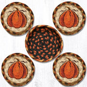 "Capitol Earth Rugs 4"" Braided Jute Coaster Set, Harvest Pumpkin"