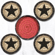 "Capitol Earth Rugs Printed Braided Jute Coaster Sets, 4"", Black Star"