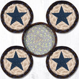 "Capitol Earth Rugs Printed Braided Jute Coaster Sets, 4"", Blue Star"