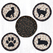 "Capitol Earth Rugs Printed Braided Jute Coaster Sets, 4"", Porch Cat"