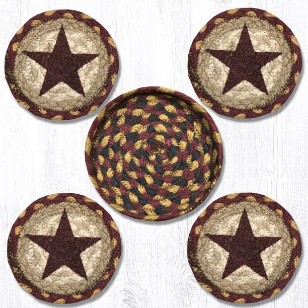 "Capitol Earth Rugs Printed Braided Jute Coaster Sets, 4"", Burgundy Star"