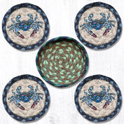 "Capitol Earth Rugs Printed Braided Jute Coaster Sets, 4"", Blue Crab"