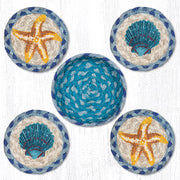 "Capitol Earth Rugs Printed Braided Jute Coaster Sets, 4"", Starfish & Scallops"