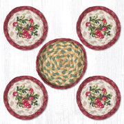 "Capitol Earth Rugs 4"" Braided Jute Coaster Set, Cranberries"