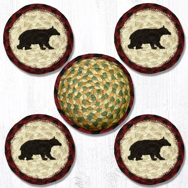 "Capitol Earth Rugs Printed Braided Jute Coaster Sets, 4"", Cabin Bear"