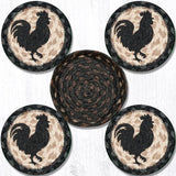 "Capitol Earth Rugs Printed Braided Jute Coaster Set, 4"", Rooster Silhouette"