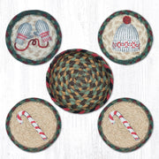 "Capitol Earth Rugs 4"" Braided Jute Coaster Set, Winter"