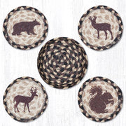 "Capitol Earth Rugs Printed Braided Jute Coaster Sets, 4"", Wildlife"