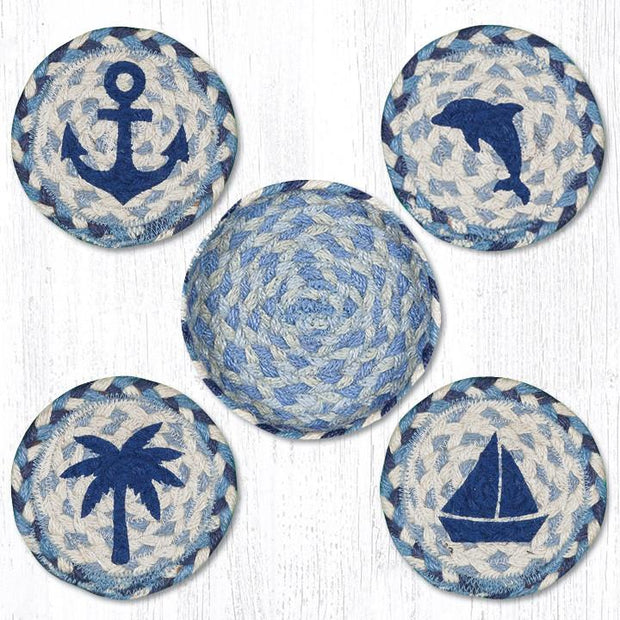 "Capitol Earth Rugs Printed Braided Jute Coaster Sets, 4"", Coastal"
