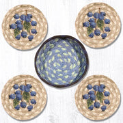 "Capitol Earth Rugs 4"" Braided Jute Coaster Set, Blueberry"