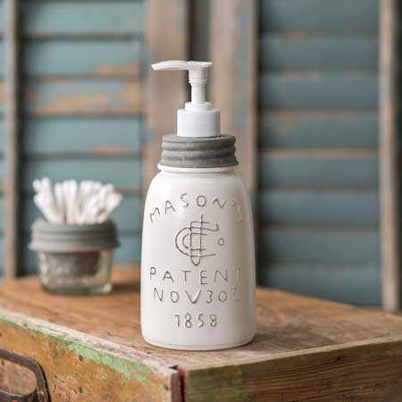 Colonial Tin Works White Midget Pint Mason Jar Soap Dispenser
