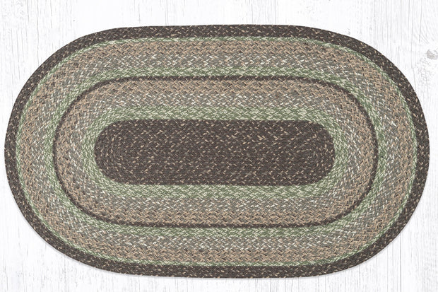 "Capitol Earth Rugs Moss Bark Traditional Braided Craft Spun Rug, 27"" x 45"" Oval"