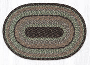 "Capitol Earth Rugs Moss Bark Traditional Braided Craft Spun Rug, 20"" x 30"" Oval"