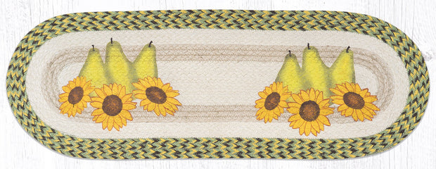 "Capitol Earth Rugs Pears & Sunflowers Printed Table Runner, 13"" x 36"" Oval"