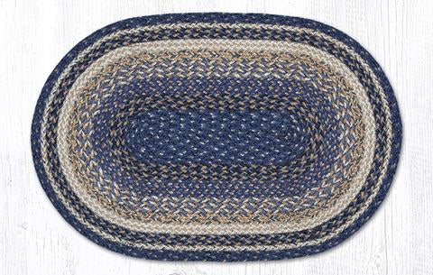 Capitol Earth Rugs Deep Blue Traditional Craft Spun Rug, Oval 20