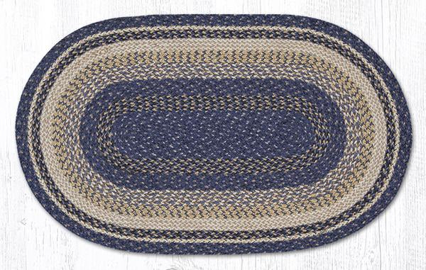 "Capitol Earth Rugs Deep Blue Traditional Craft Spun Rug, Oval 27"" x 45"""