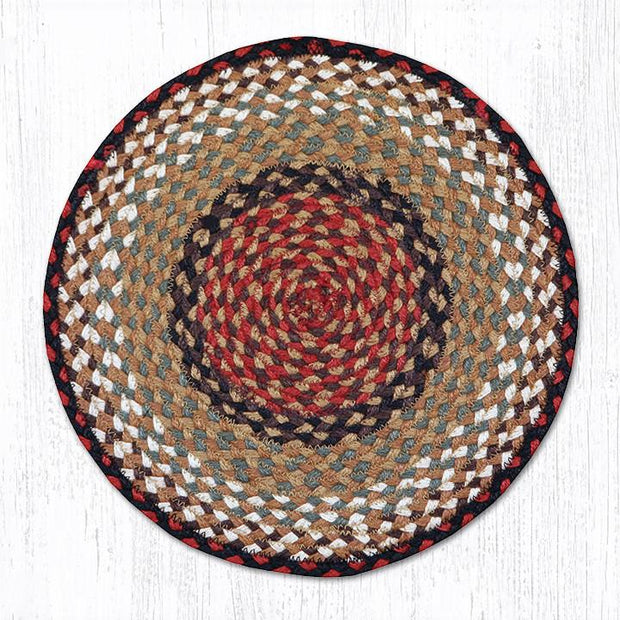 Capitol Earth Rugs Braided Jute Chair Pad, Burgundy/Mustard