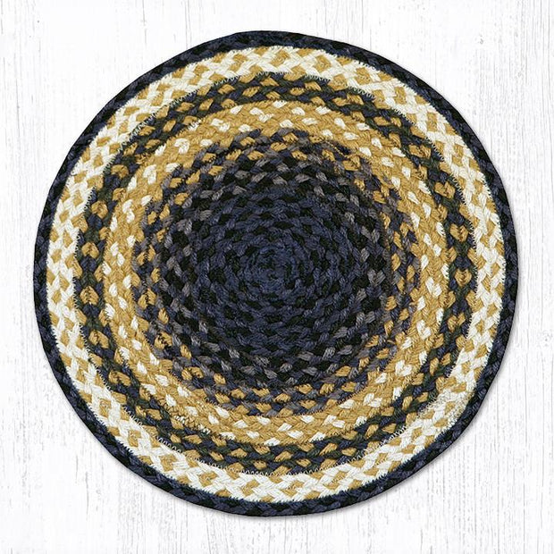 Capitol Earth Rugs Braided Jute Chair Pad, Light & Dark Blue/Mustard