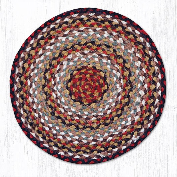 Capitol Earth Rugs Braided Jute Chair Pad, Burgundy/Mustard/Ivory