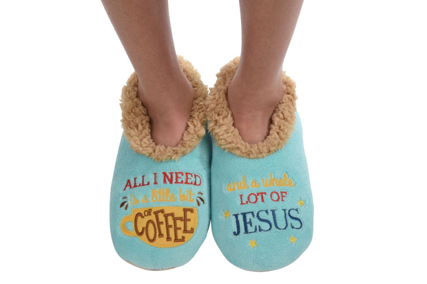 Little Bit of Coffee, Whole Lotta Jesus Snoozies Slippers for Women