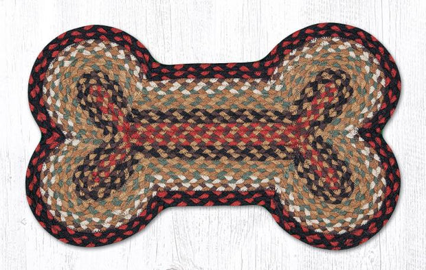 "Capitol Earth Rugs Dog Bone-Shaped Braided Rug, Burgundy/Mustard, 13"" x 22"""