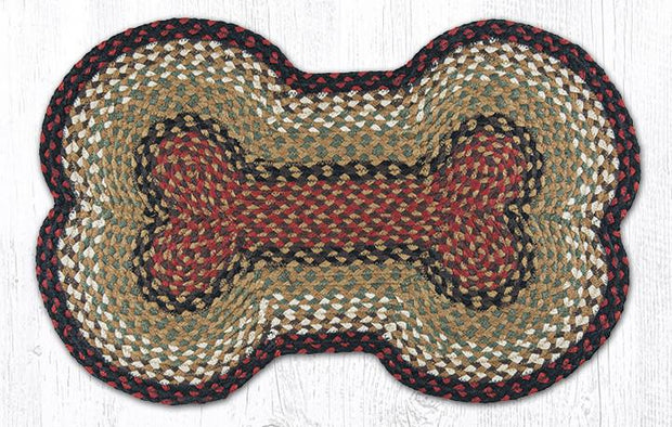 "Capitol Earth Rugs Dog Bone-Shaped Braided Rug, Burgundy/Mustard, 18"" x 28"""